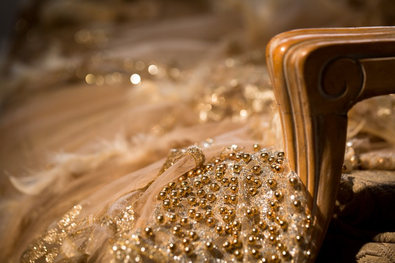 Beading detail on wedding dress