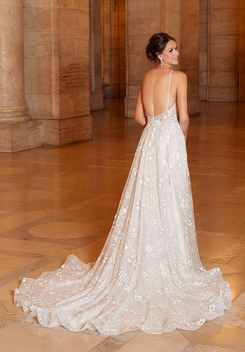 Back of Amorita (Style 1048) wedding dress from the Madeline Gardner Signature Spring 2021 Bridal Collection
