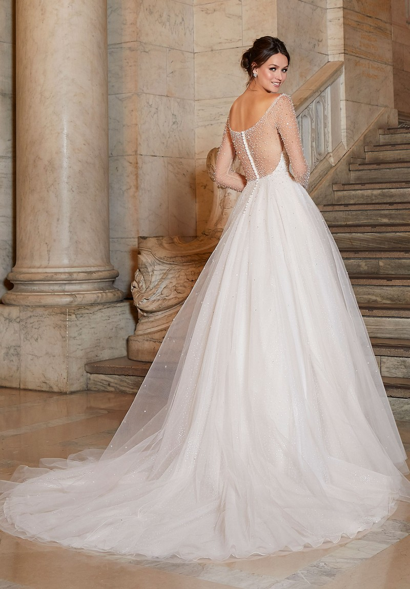 Back of Angelina (Style 1049) wedding dress from the Madeline Gardner Signature Spring 2021 Bridal Collection