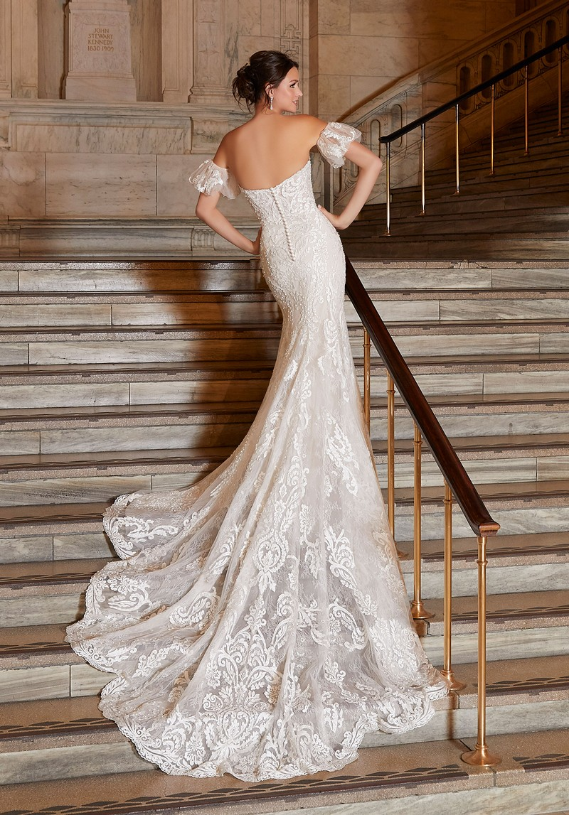 Back of Antoinette (Style 1041) wedding dress from the Madeline Gardner Signature Spring 2021 Bridal Collection
