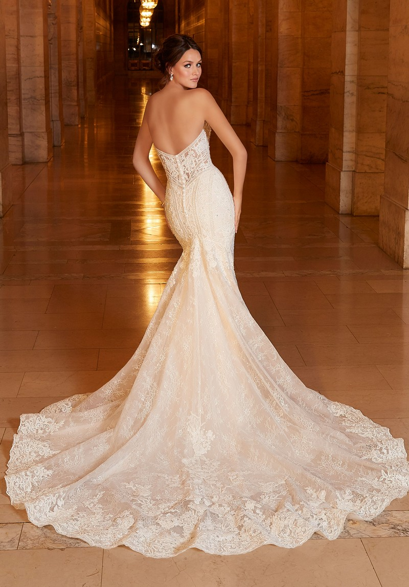 Back of Athena (Style 1044) wedding dress from the Madeline Gardner Signature Spring 2021 Bridal Collection