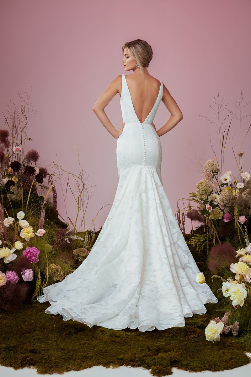 Back of Dayflower wedding dress from the Anne Barge Blue Willow Bride 2021 Bridal Collection