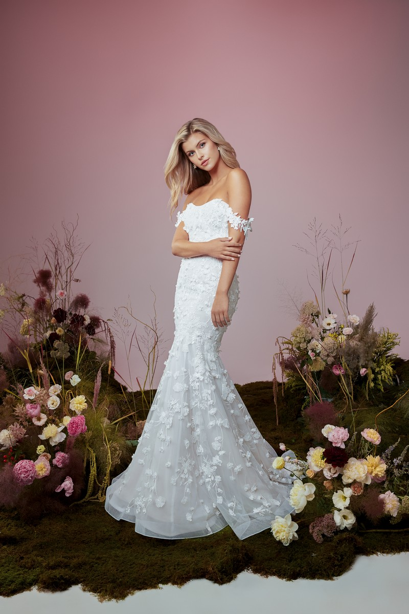 Flutter wedding dress from the Anne Barge Blue Willow Bride 2021 Bridal Collection