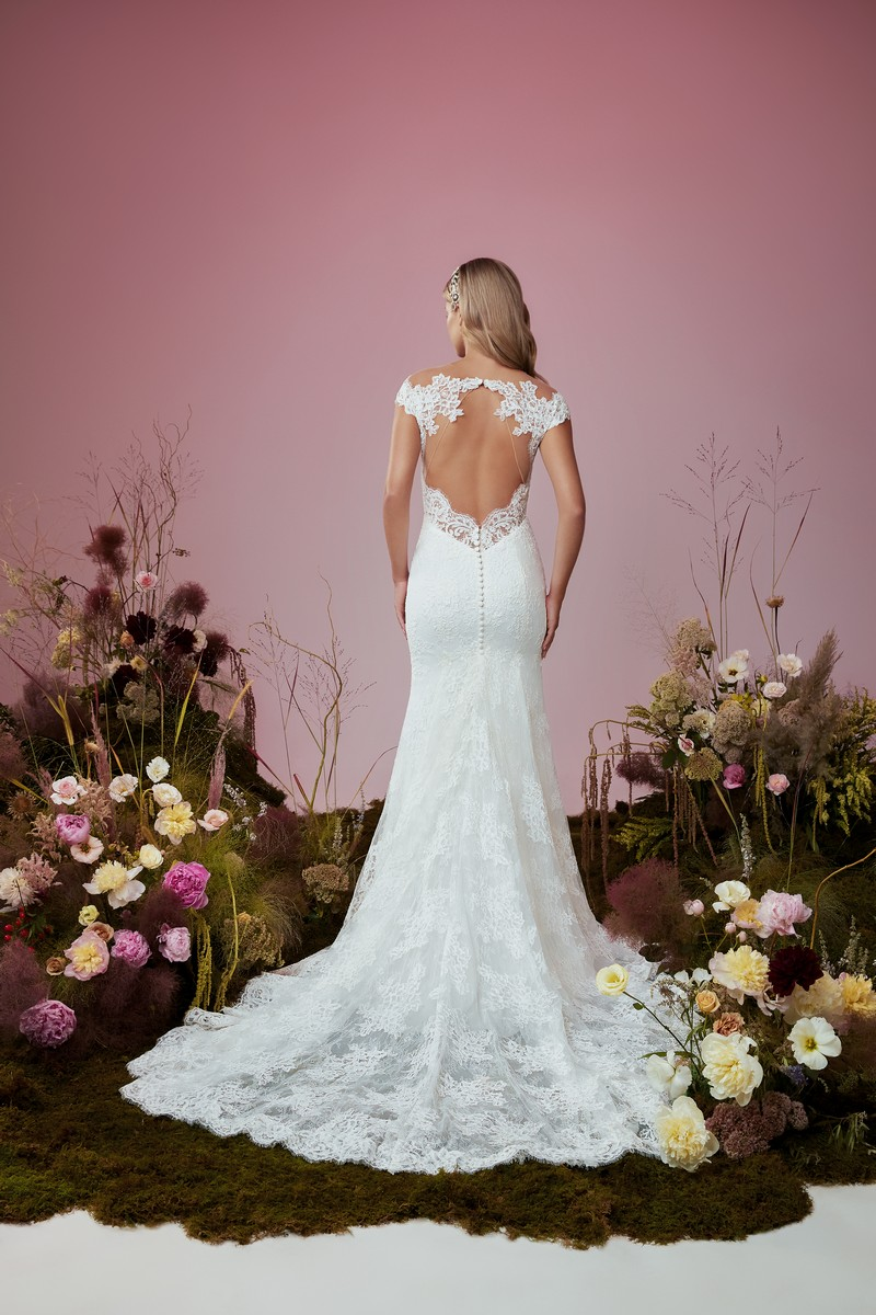 Back of Gossamer wedding dress from the Anne Barge Blue Willow Bride 2021 Bridal Collection