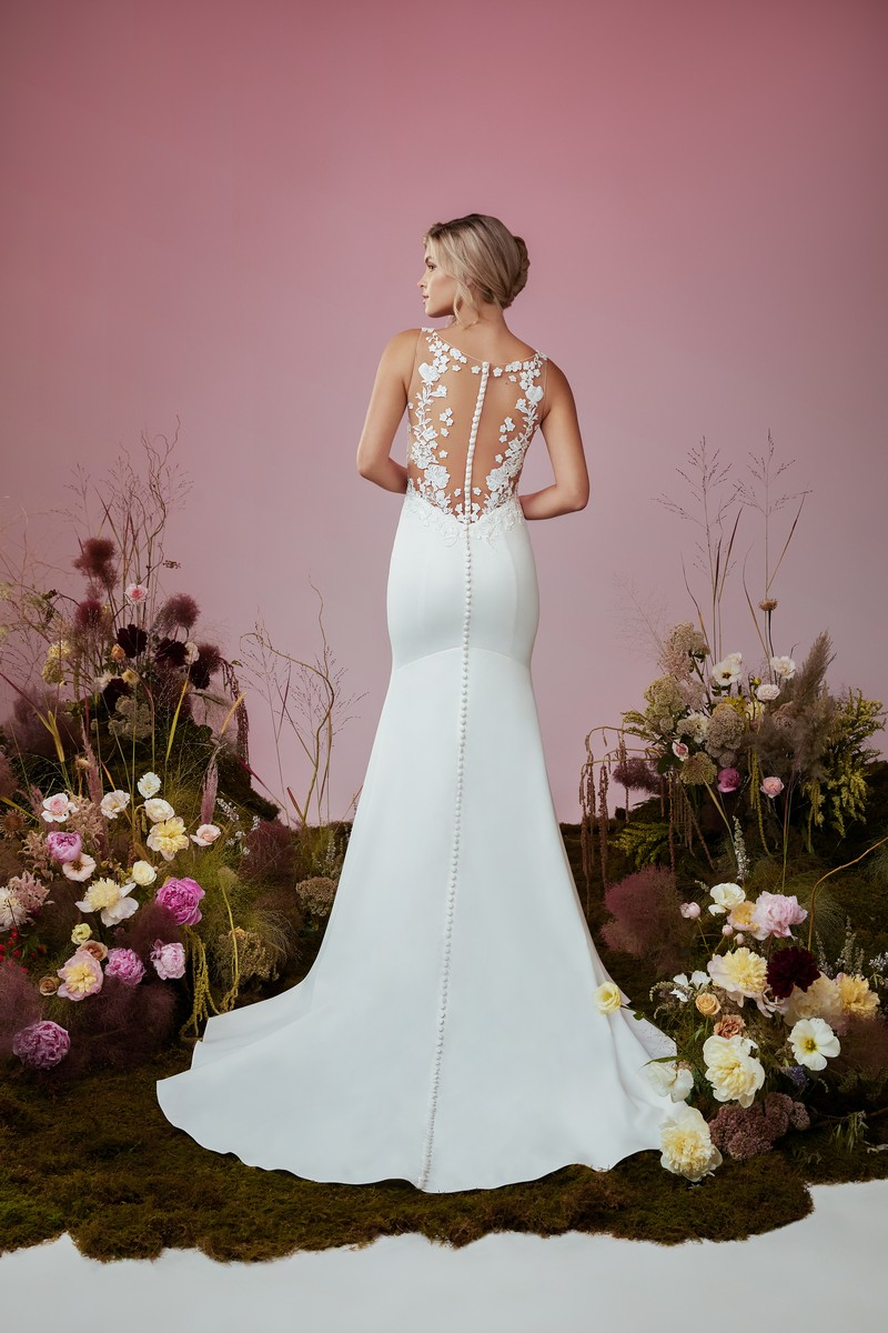 Back of Wind Dancer wedding dress from the Anne Barge Blue Willow Bride 2021 Bridal Collection