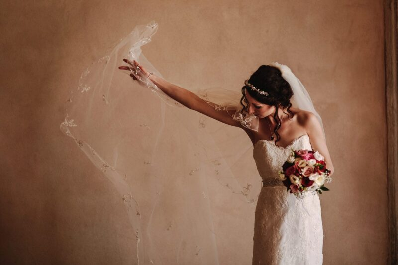 Bride pulling out veil - Picture by Andy Gaines