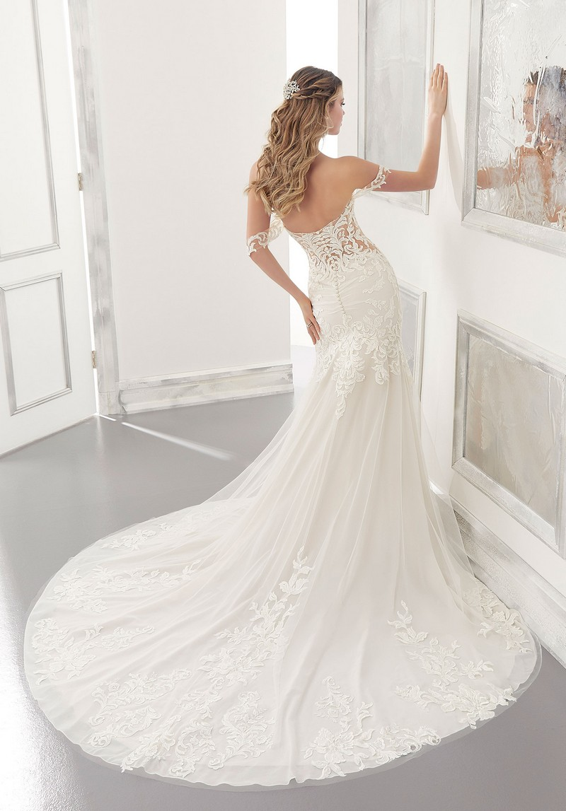 Back of Adaline (Style 2190) wedding dress from the Morilee Modern Romance Spring 2021 Bridal Collection