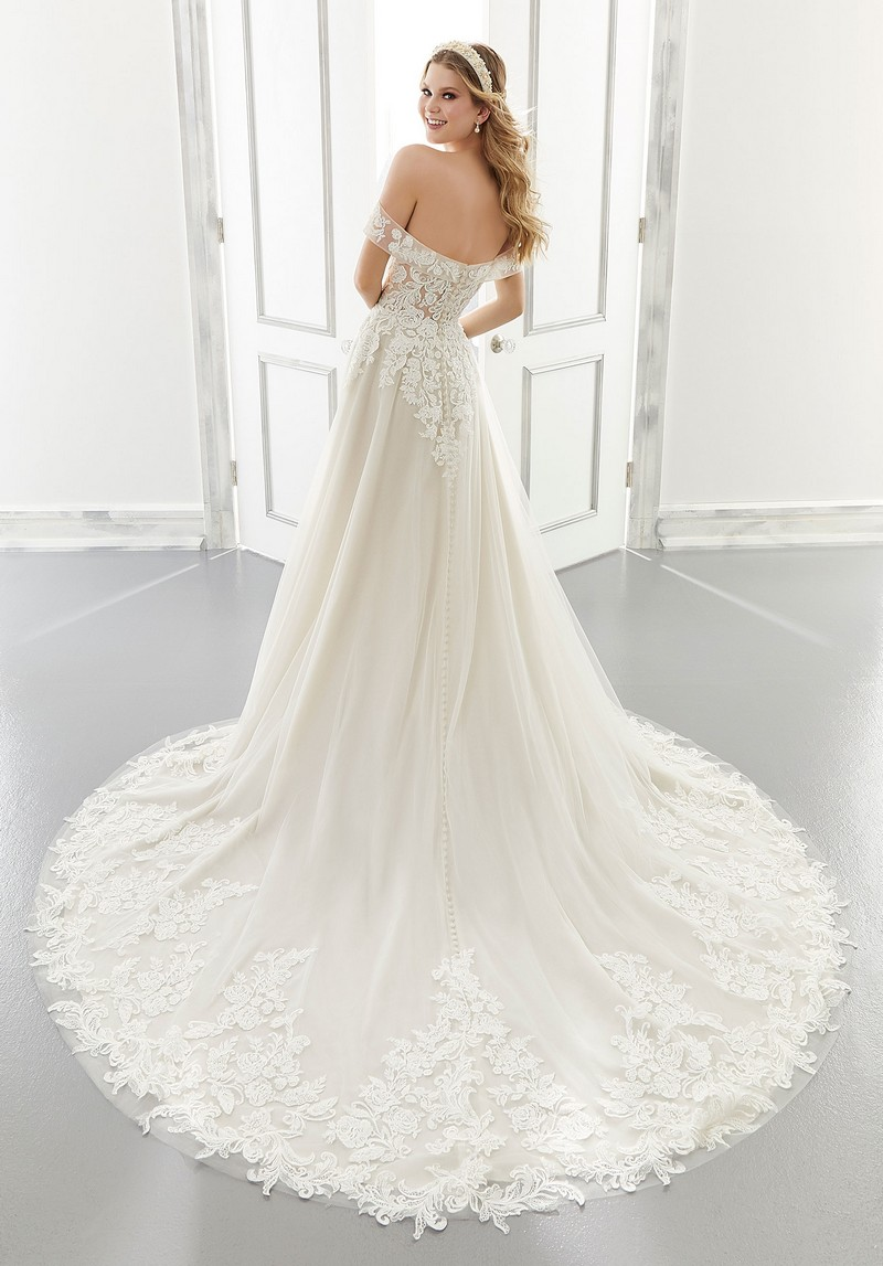 Back of Adrianna (Style 2192) wedding dress from the Morilee Modern Romance Spring 2021 Bridal Collection