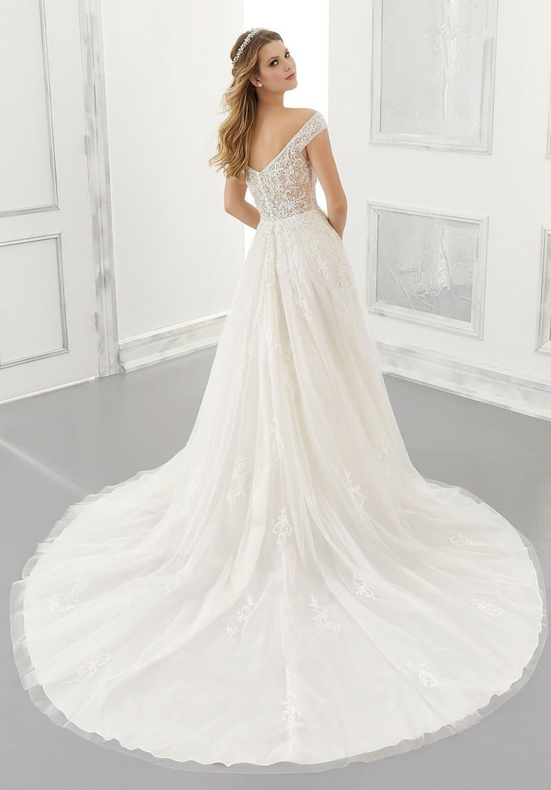 Back of Alessandra (Style 2193) wedding dress from the Morilee Modern Romance Spring 2021 Bridal Collection