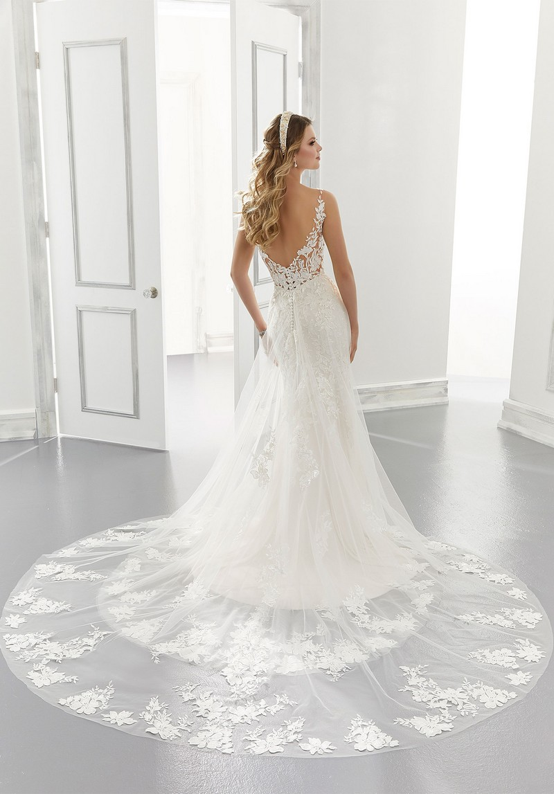 Back of Amalia (Style 2186) wedding dress from the Morilee Modern Romance Spring 2021 Bridal Collection