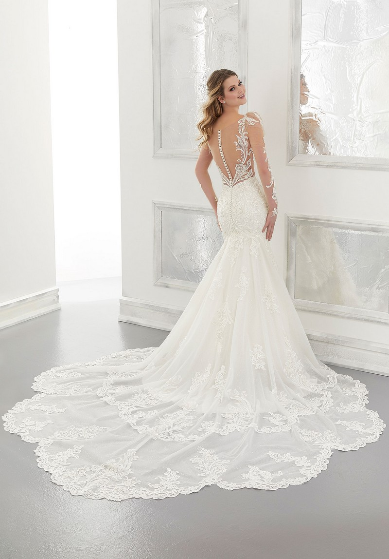 Back of Anastasia (Style 2174) wedding dress from the Morilee Modern Romance Spring 2021 Bridal Collection