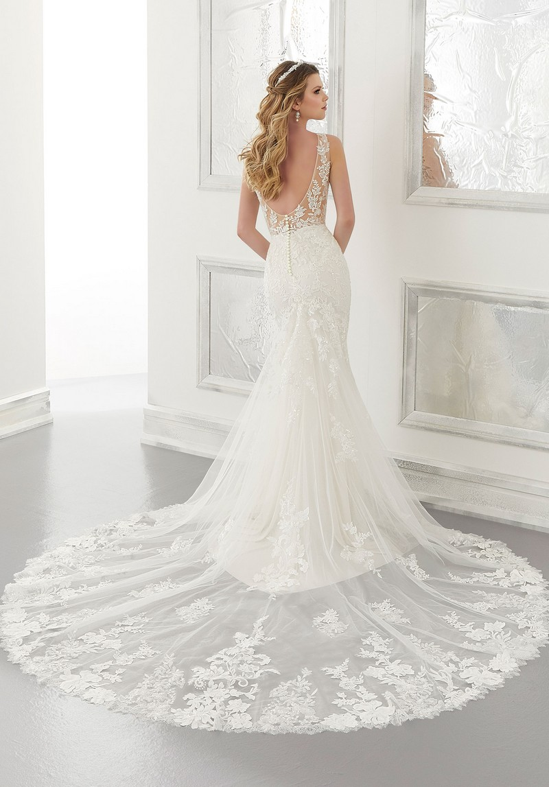 Back of Andra (Style 2180) wedding dress from the Morilee Modern Romance Spring 2021 Bridal Collection