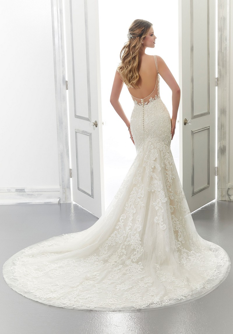 Back of Aria (Style 2172) wedding dress from the Morilee Modern Romance Spring 2021 Bridal Collection