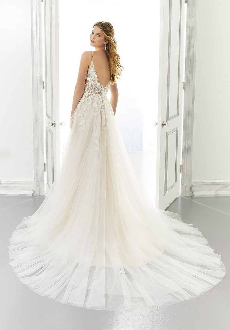 Back of Ariadne (Style 2189) wedding dress from the Morilee Modern Romance Spring 2021 Bridal Collection
