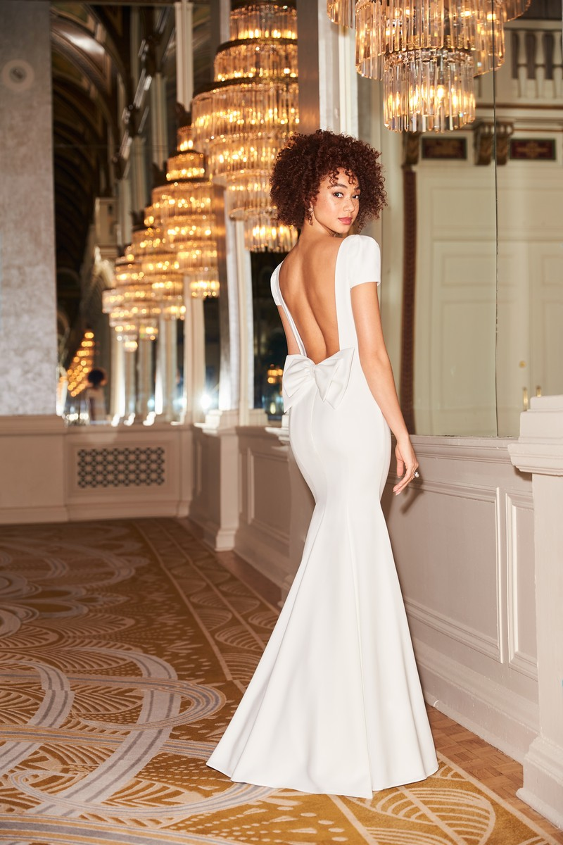 Back of Style 2350 wedding dress from the Mikaella Fall 2021 Bridal Collection