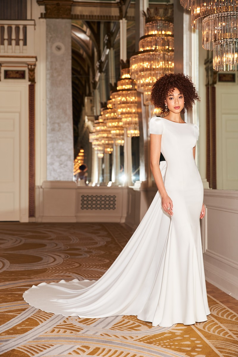 Style 2350 wedding dress with Detachable Train from the Mikaella Fall 2021 Bridal Collection