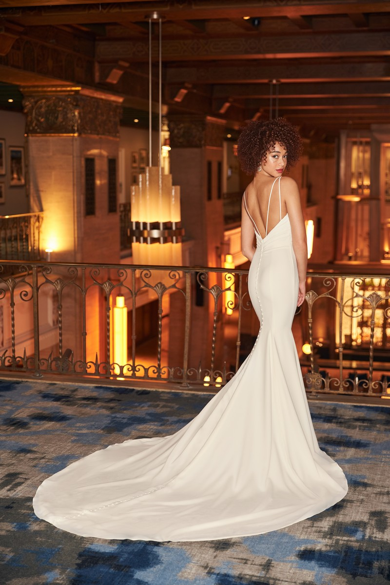 Back of Style 2354 wedding dress from the Mikaella Fall 2021 Bridal Collection
