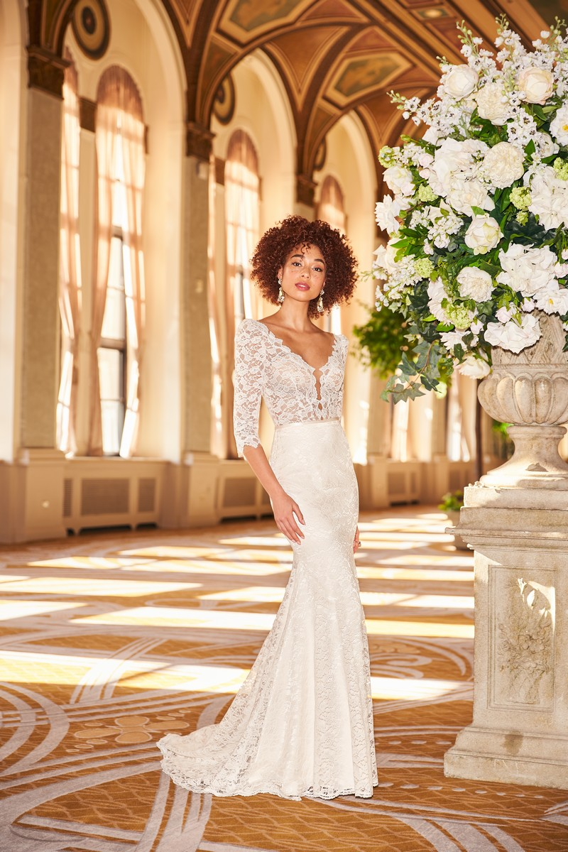 Style 2357 wedding dress from the Mikaella Fall 2021 Bridal Collection