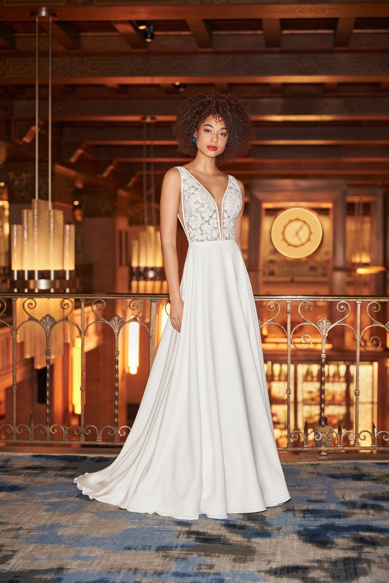 Style 2358 wedding dress from the Mikaella Fall 2021 Bridal Collection