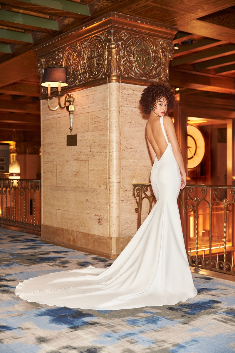 Back of Style 2359 wedding dress from the Mikaella Fall 2021 Bridal Collection