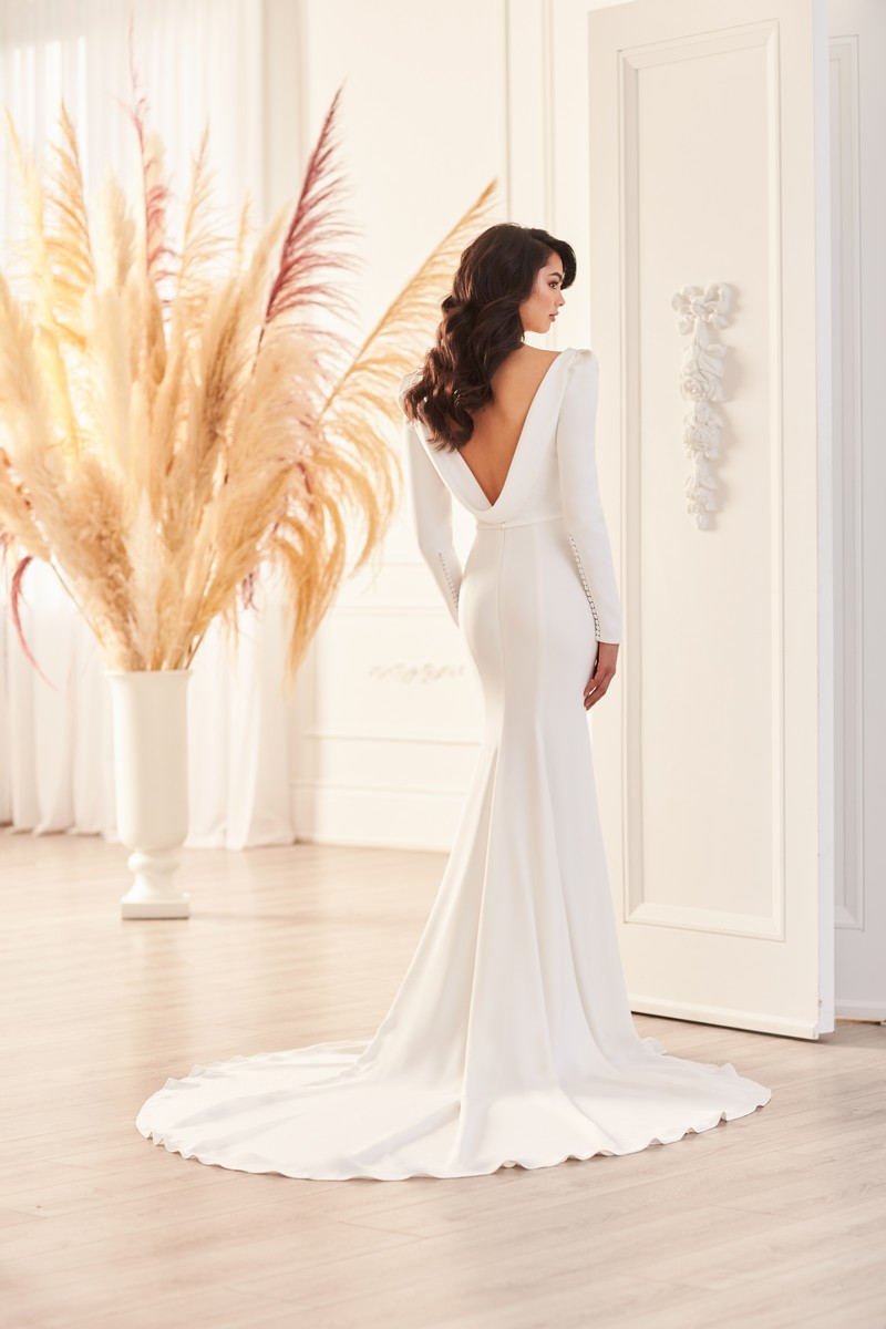Back of Style 4950 wedding dress from the Paloma Blanca Fall 2021 Bridal Collection