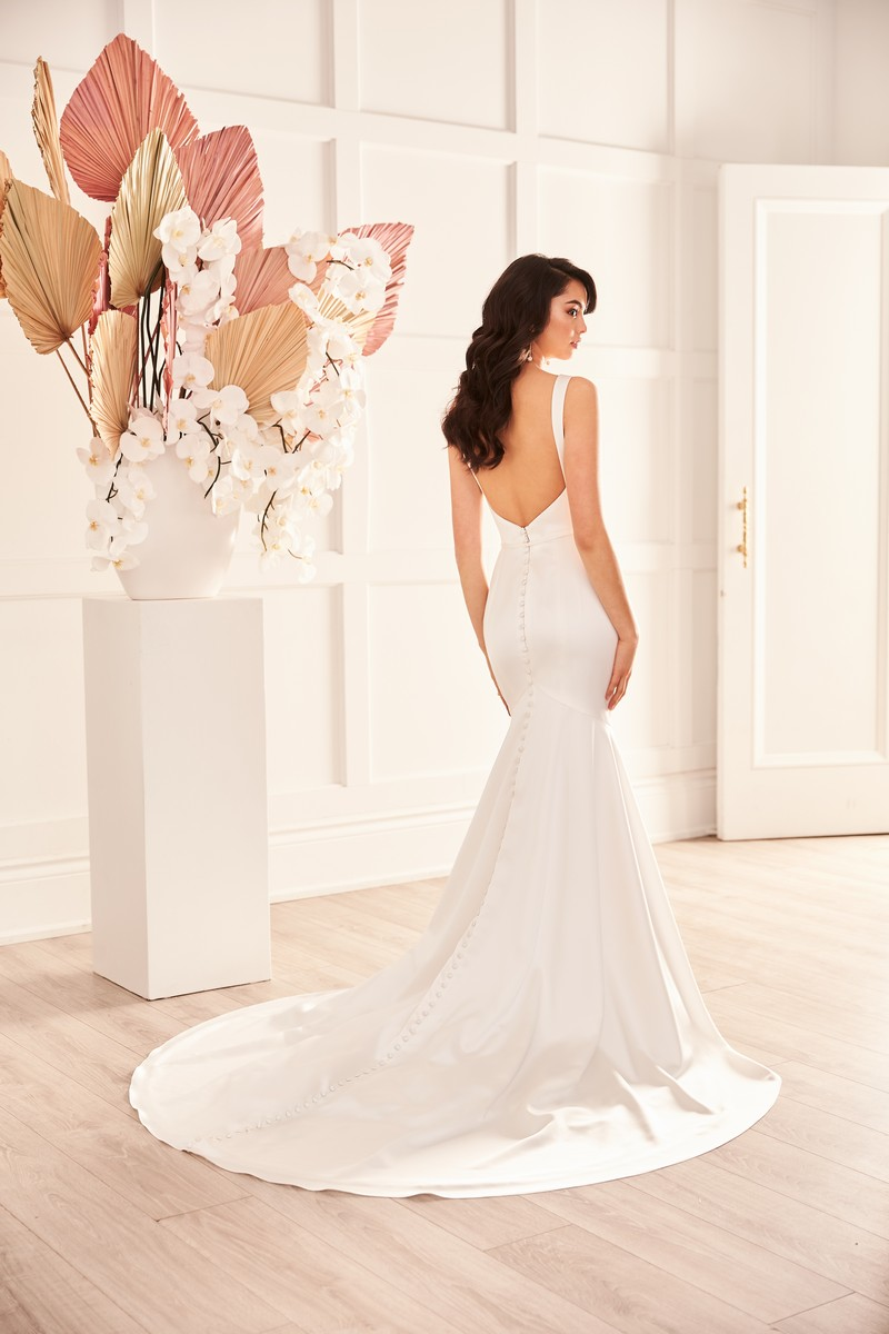 Back of Style 4957 wedding dress from the Paloma Blanca Fall 2021 Bridal Collection