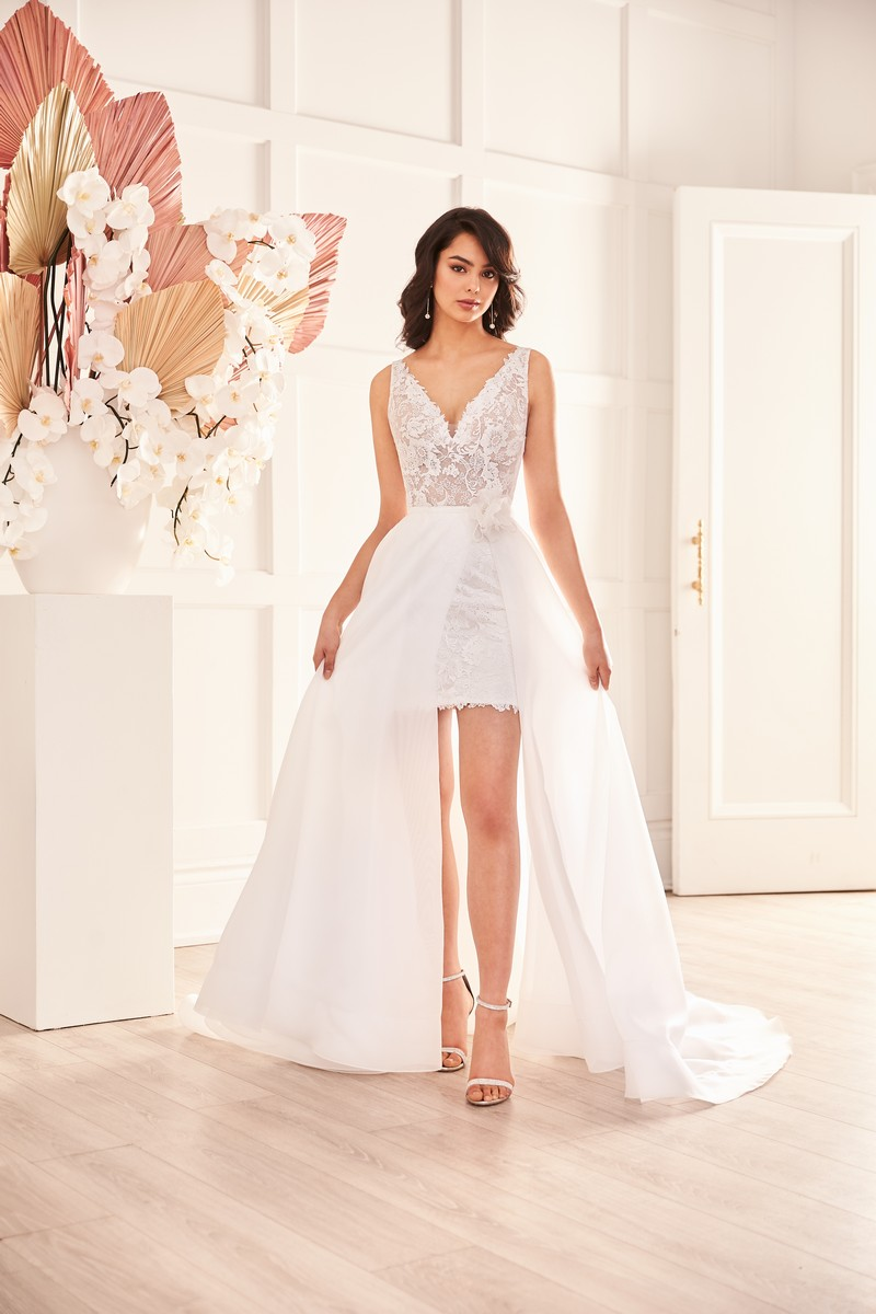 Style 4959 wedding dress with overskirt from the Paloma Blanca Fall 2021 Bridal Collection