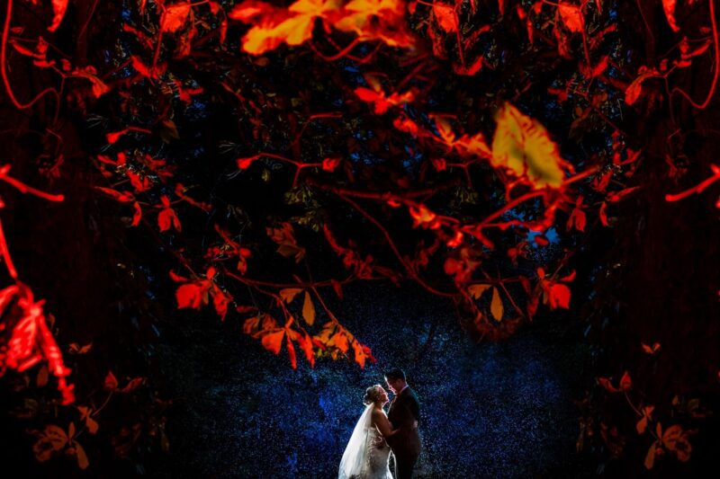 Bride and groom standing under branches lit up red at night - Picture by Kimberley Hill Photography