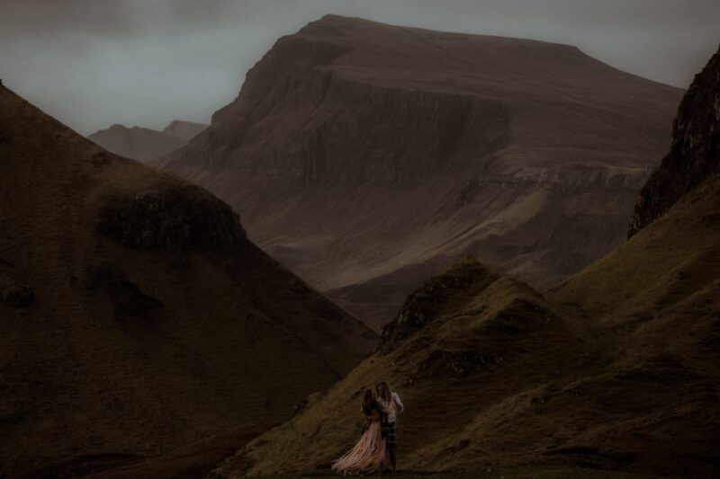 Bride and groom at The Quiraing on The Isle of Skye - Picture by Lilly Wilson Photography
