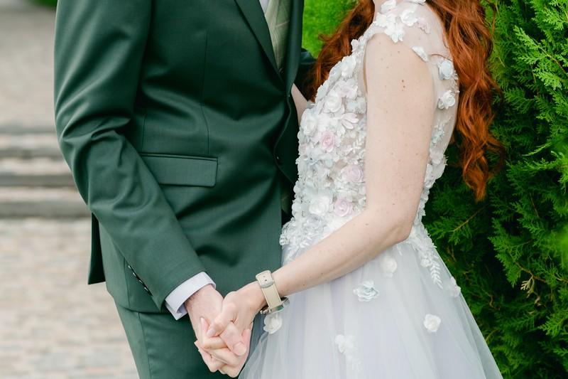 Green groom suit